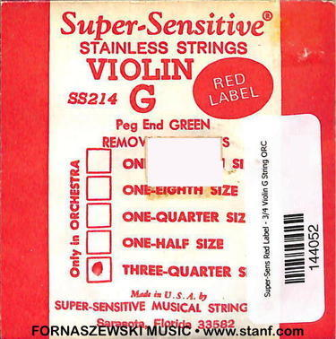 Super-Sensitive Red Label - 3/4 Violin G String ORC - Fornaszewski Music Store, Granite City IL 62040 - www.stanf.com