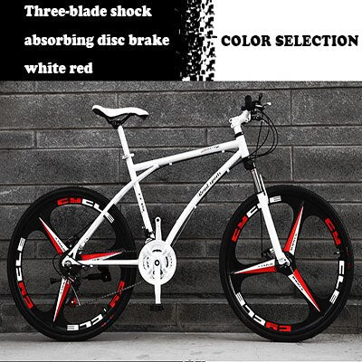 26-Inch Variable Speed Fast Flying Bicycle Men's Road Racing Double Disc Brake Solid Tire Shock Absorbing Bicycle Adult Students