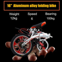 "Load image into Gallery viewer, Ultra light Full Aluminum Alloy Folding Bike Bicycle 16"" With 6 Speed Double Disc Brake Foldable Cycling Bicycle Mini Bicicleta"