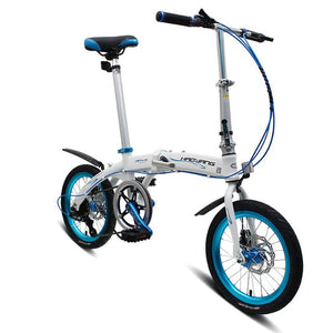 "Ultra light Full Aluminum Alloy Folding Bike Bicycle 16"" With 6 Speed Double Disc Brake Foldable Cycling Bicycle Mini Bicicleta"