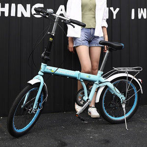 Mountain bike 20 inch off-road male female  wheel folding bicycle dual disc brakes variable speed bicycle