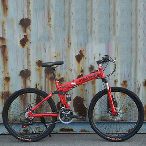 Mountain Bike Variable Speed Double Disc Brake Shock Absorption Folding Bicycle Adult Student Off Road