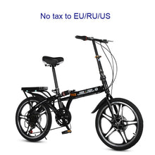 Load image into Gallery viewer, 16/20 inch folding bike High quality folding men and women bicycle front and rear disc brakes 7 variable speed bike