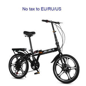 16/20 inch folding bike High quality folding men and women bicycle front and rear disc brakes 7 variable speed bike