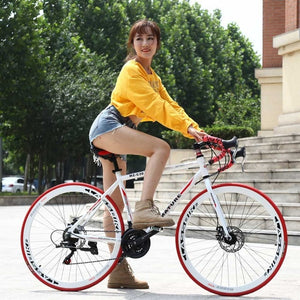 Road bicycle racing car 21/27/30/33 speeds, double disc brake, 700C speed change student bicycle Aluminum alloy