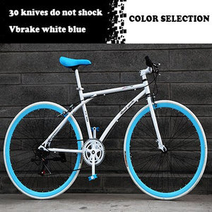 26-Inch 6-Speed Bicycle Road Race 30-Blade Rim Double Disc Brake Solid Tire Shock Absorbing Bike Adult Student