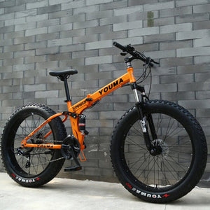 Mountain Bike 24 Inches 24 Speed Double Disc Brake Spoked Wheel 4.0 Widened Tires Both Men and Women