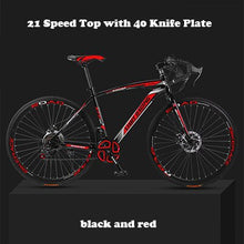 Load image into Gallery viewer, 26-inch 21 Speed Road Bicycle Dead-Flying Front and Rear Mechanical Disc Brake 40 Knife Wheel Solid Tire Student Adult