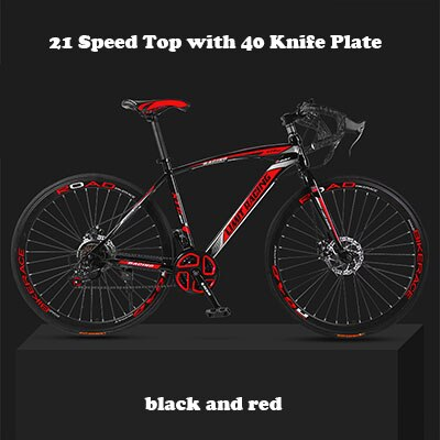 26-inch 21 Speed Road Bicycle Dead-Flying Front and Rear Mechanical Disc Brake 40 Knife Wheel Solid Tire Student Adult