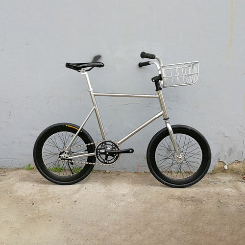 20 inches fixed Gear bike Track Single speed Bike fixie bike vintage sliver bicycle frame mini bicycle  with sliver basket