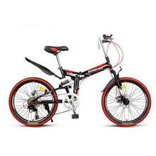 Load image into Gallery viewer, 20-inch folding bike adult male/female student variable speed cushioned rear frame portable mountain bike
