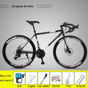 Bicycle Fixed Gear Bicycle Road Racing Bike 26 Inch Croissant Bend Double Disc Brake Adult Male And Female Students