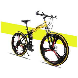 Factory direct selling folding mountain bike, bicycle double shock absorber, soft tail frame, integrated bicycle, mountain bike.