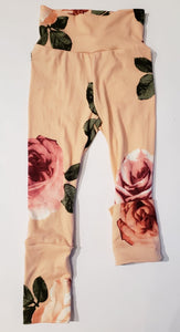 Leggings fleuris rose