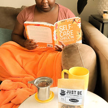 Load image into Gallery viewer, Morning Meditation Kit - Black Woman Reading - Black Woman Drinking Tea