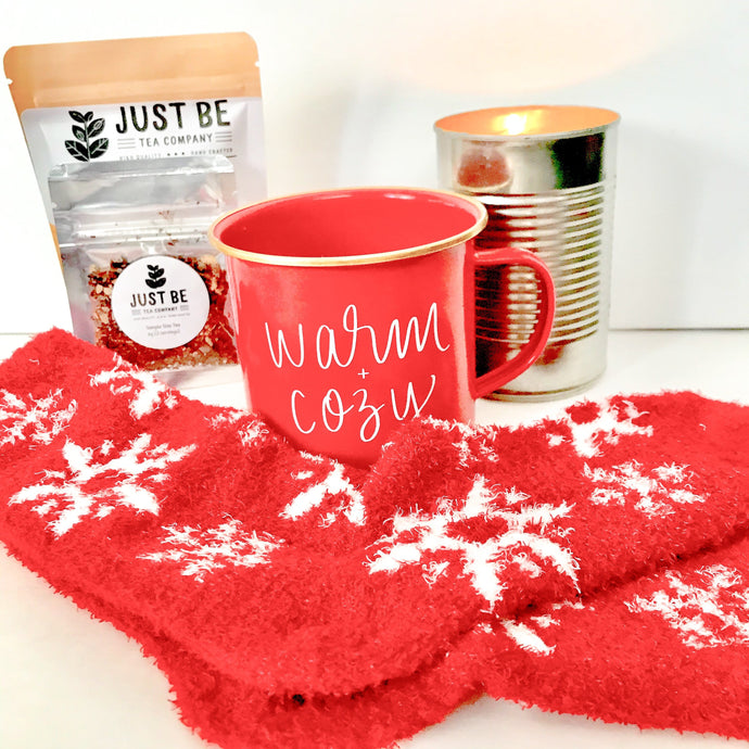 Warm and Cozy Campfire Mug - Loose leaf tea blend - Cozy Winter Kit - Pine Tree Candle - Woodsy Candle
