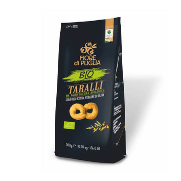 Fiore Di Puglia Taralli Classici Bio 300Gx10Pz Wheat Crackers With Extra Virgin Olive Oil, 300 g