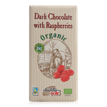 Chocolate Sole Organic Dark Chocolate with Raspberries - 100 g