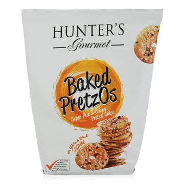 Hunter Foods Gourmet Baked Pretzel Chips with Black and White Sesame Seeds - 180 gm