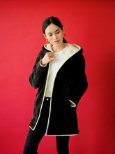 Load image into Gallery viewer, Forest/White Reversible Shearling Wrap Coat