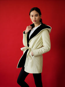 Forest/White Reversible Shearling Wrap Coat