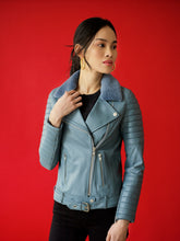 Load image into Gallery viewer, Ribbed Sleeve Leather Jacket