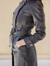 Load image into Gallery viewer, Black Long Leather Trench