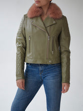 Load image into Gallery viewer, Olive/Rose Quilted Biker
