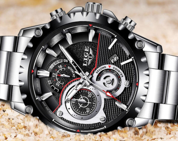 LIGE 2019 Luxury Waterproof Chronograph Quartz Wristwatch
