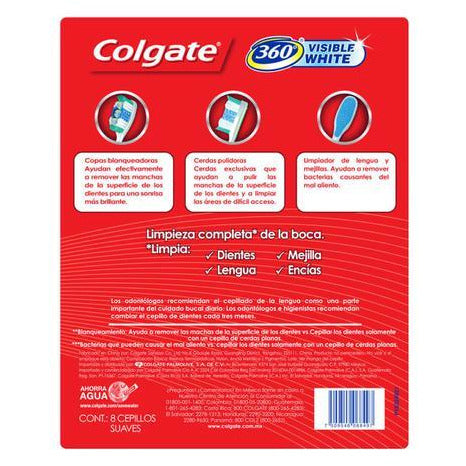 Colgate Cepillo Visible White (8 Unidades) - encaja.club