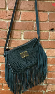 Black Gator Fringe LV Crossbody
