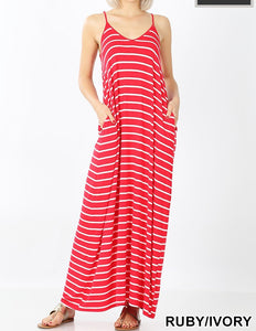 Plus Striped Cami Dress with Pockets