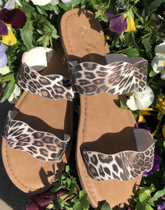 Snow Leopard Scallop Sandals