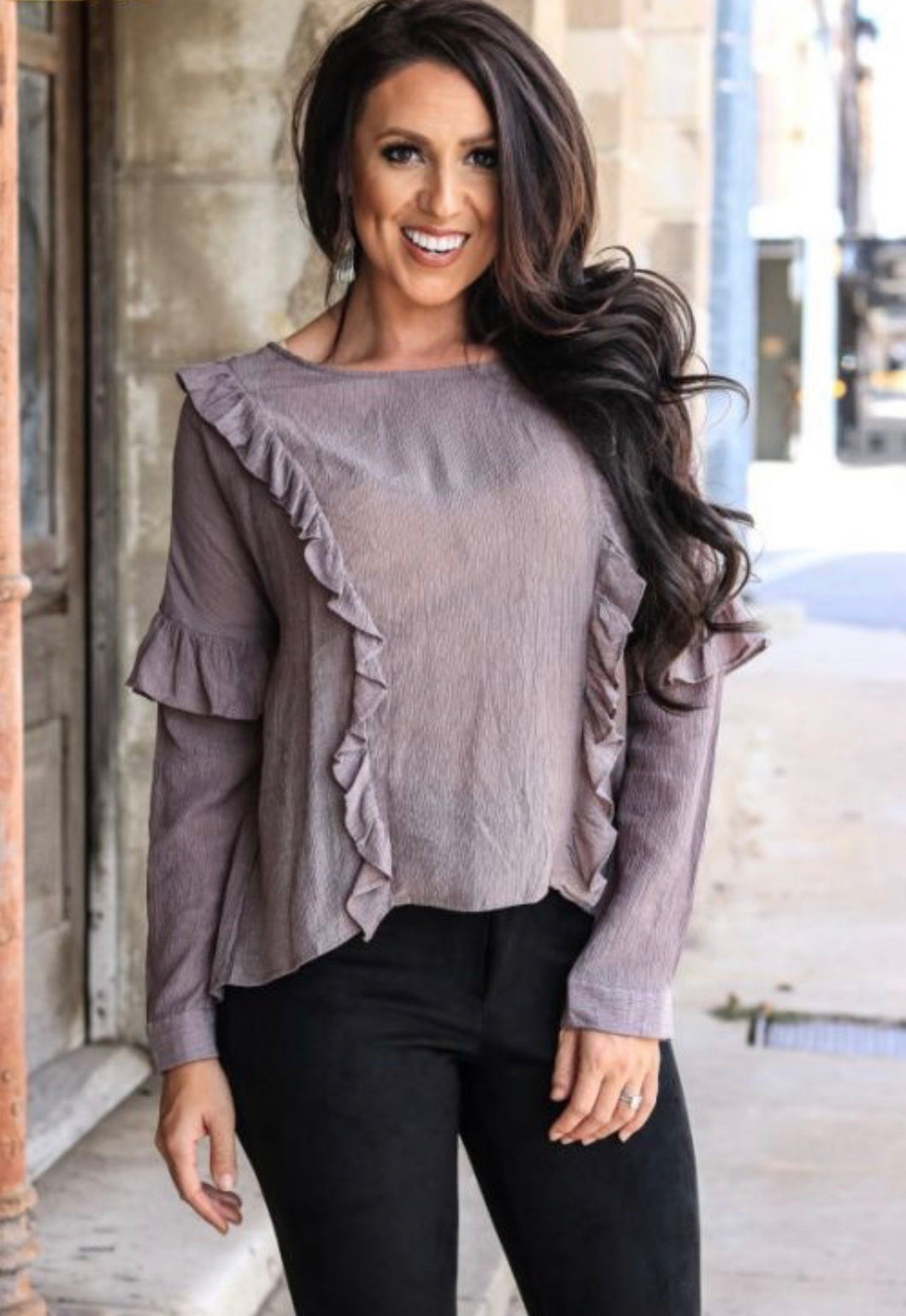 Plus size Grey Ruffle