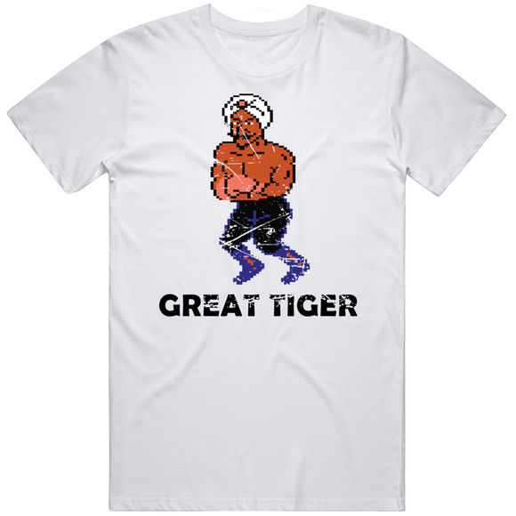 Great Tiger Stance Punchout Retro Video Game Boxing Distressed T Shirt