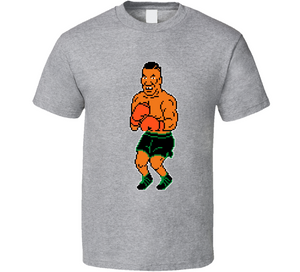 Mike Tyson 8 Bit Punch Out Boxing Video Game Grey T Shirt