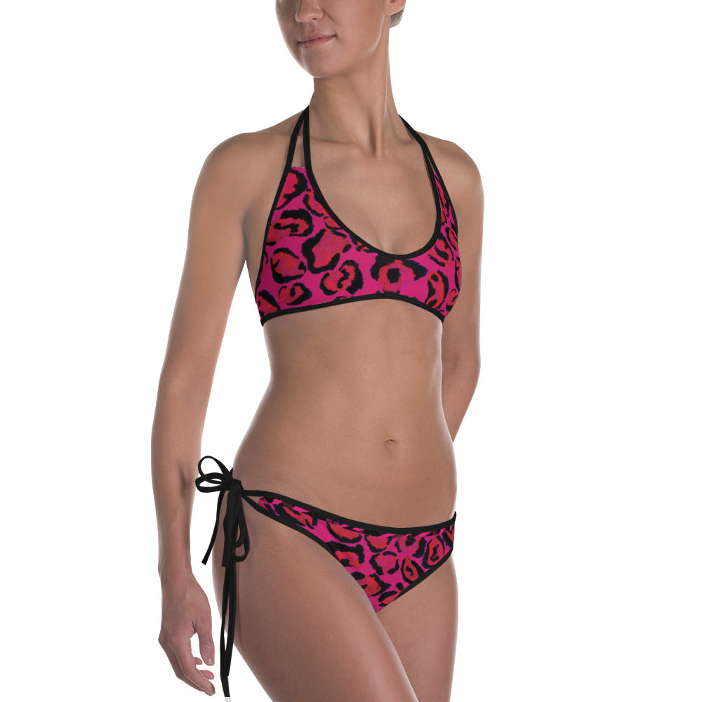 Hot Pink Animal Print - Reversible Bikini