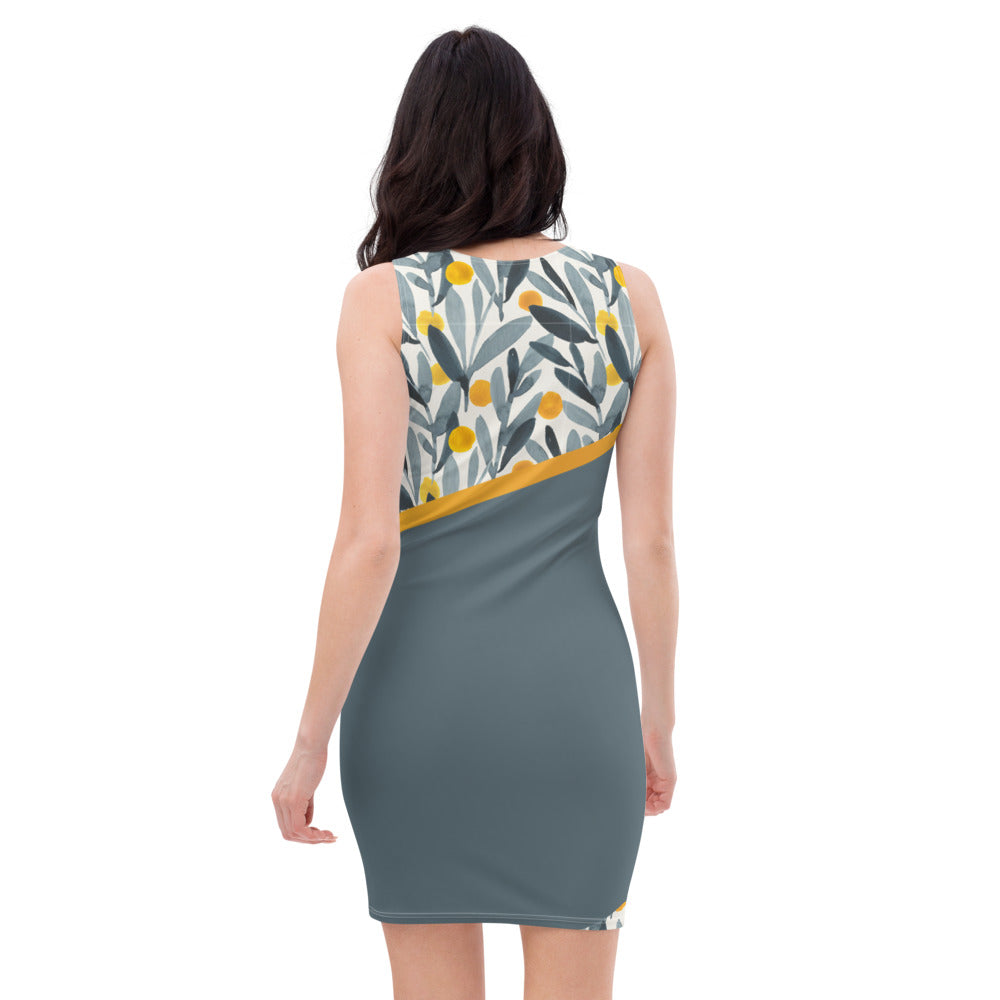 Yellow and Grey Watercolor - Printed Dress