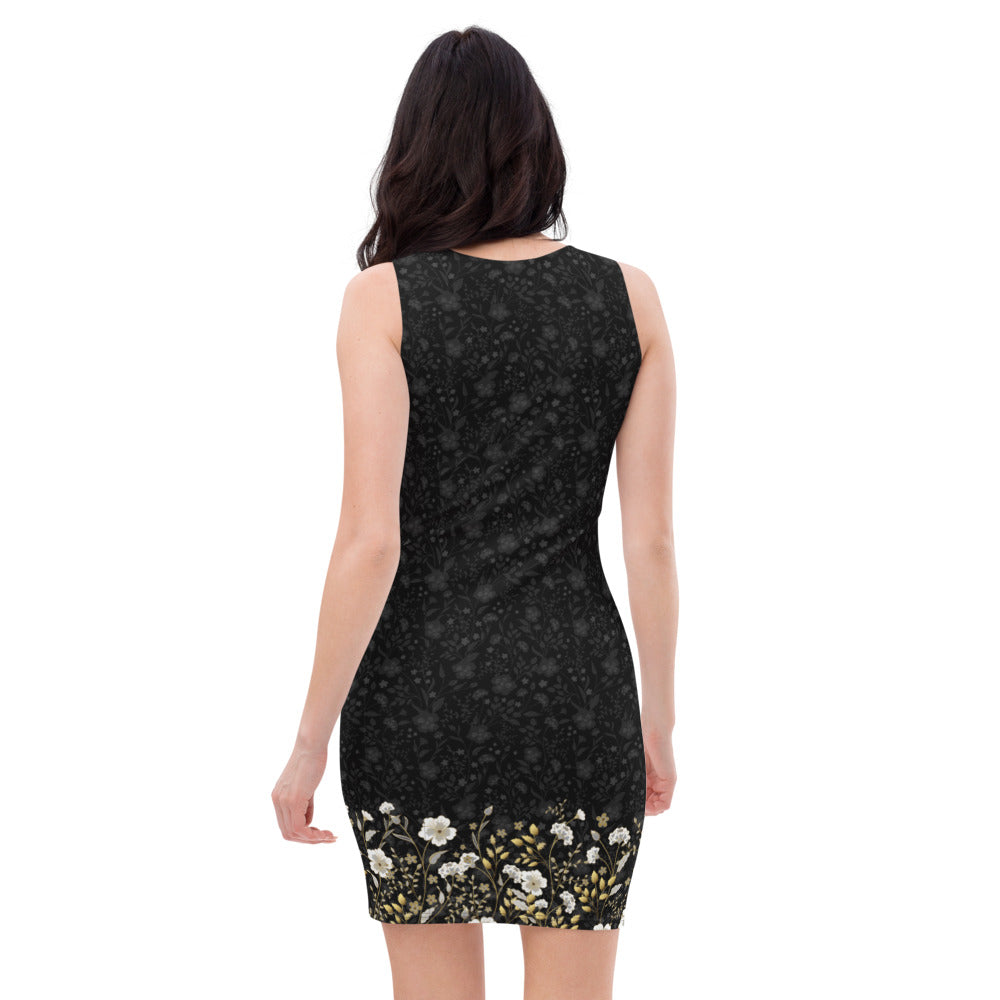 Black Jacquard and Gold Flowers - Printed Dress