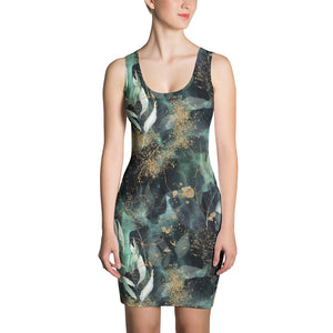 Turquoise, Black and Gold Splatter - Printed Dress