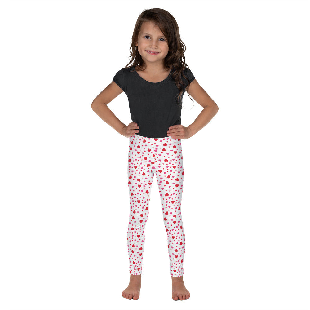 Red Hearts on white - Valentine's Day - Kid's Leggings