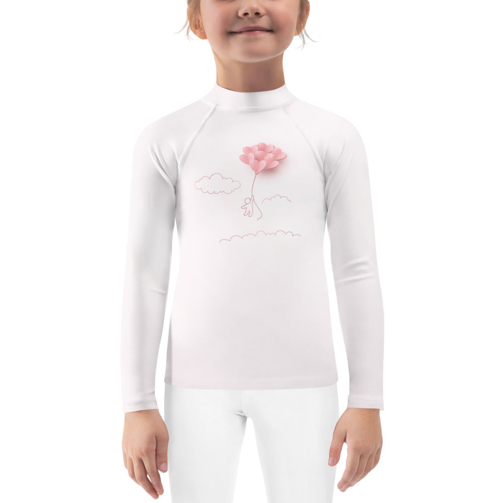 Pink Paper Balloons - Valentine's Day - Kids Rash Guard