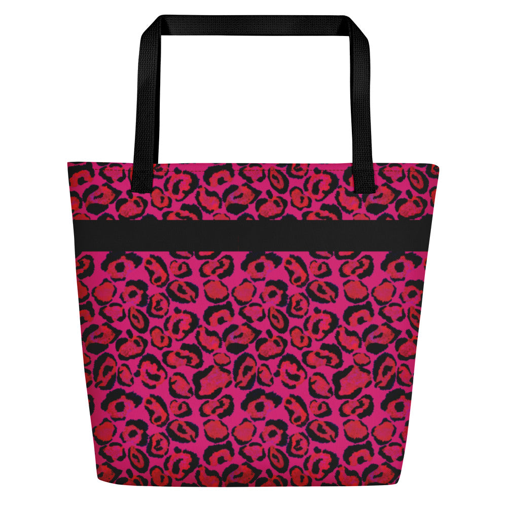 Hot Pink Animal Pattern - Beach Bag