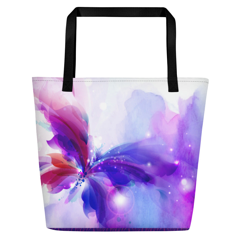 Purple Butterfly Splash - Beach Bag