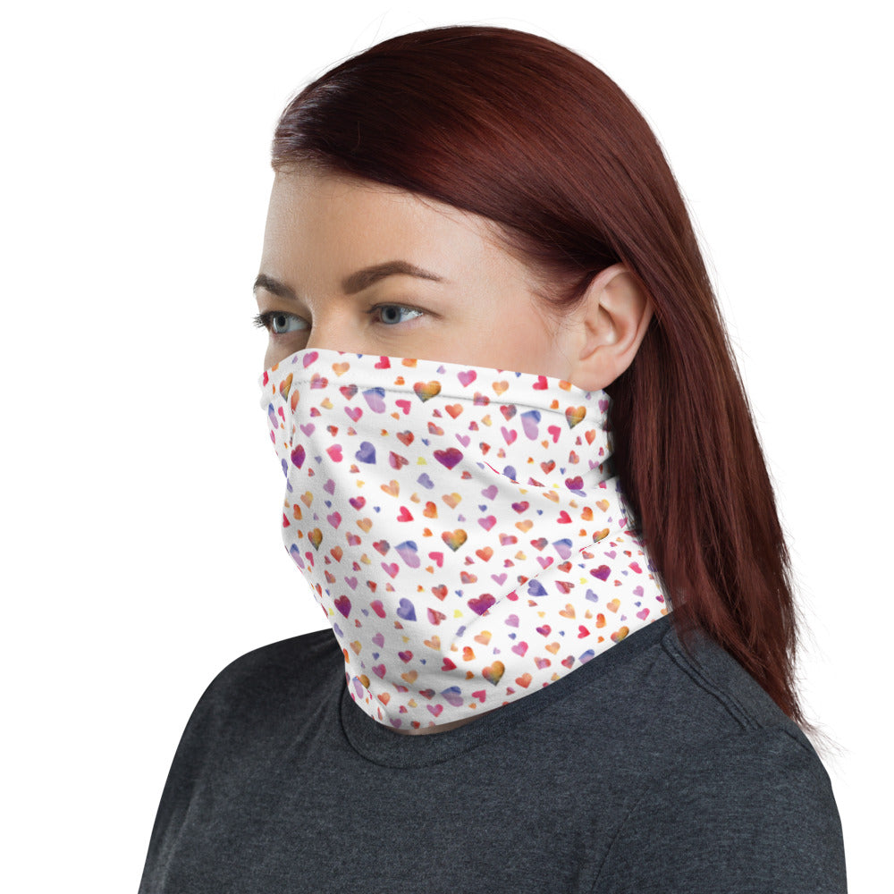 Watercolor Hearts - Valentine's Day - Neck Gaiter
