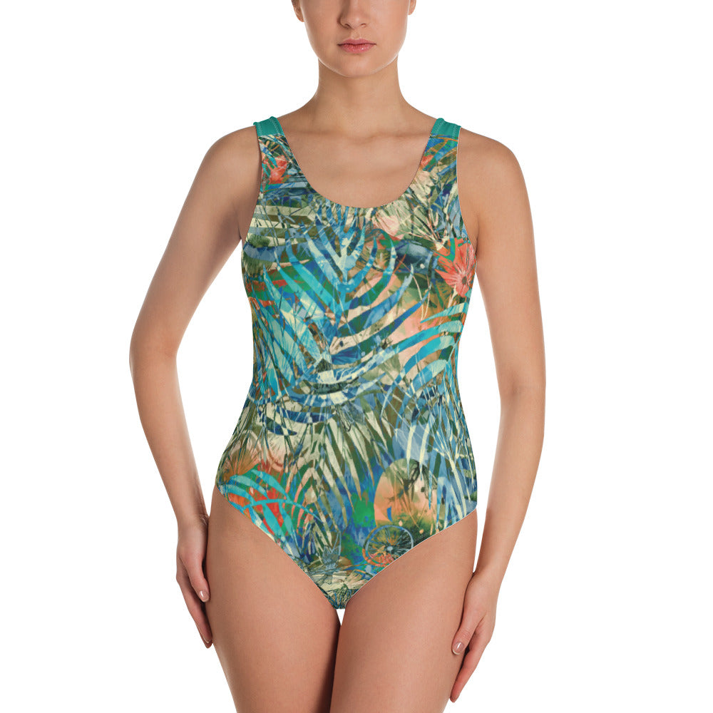 Turquoise Jungle - One-Piece Swimsuit