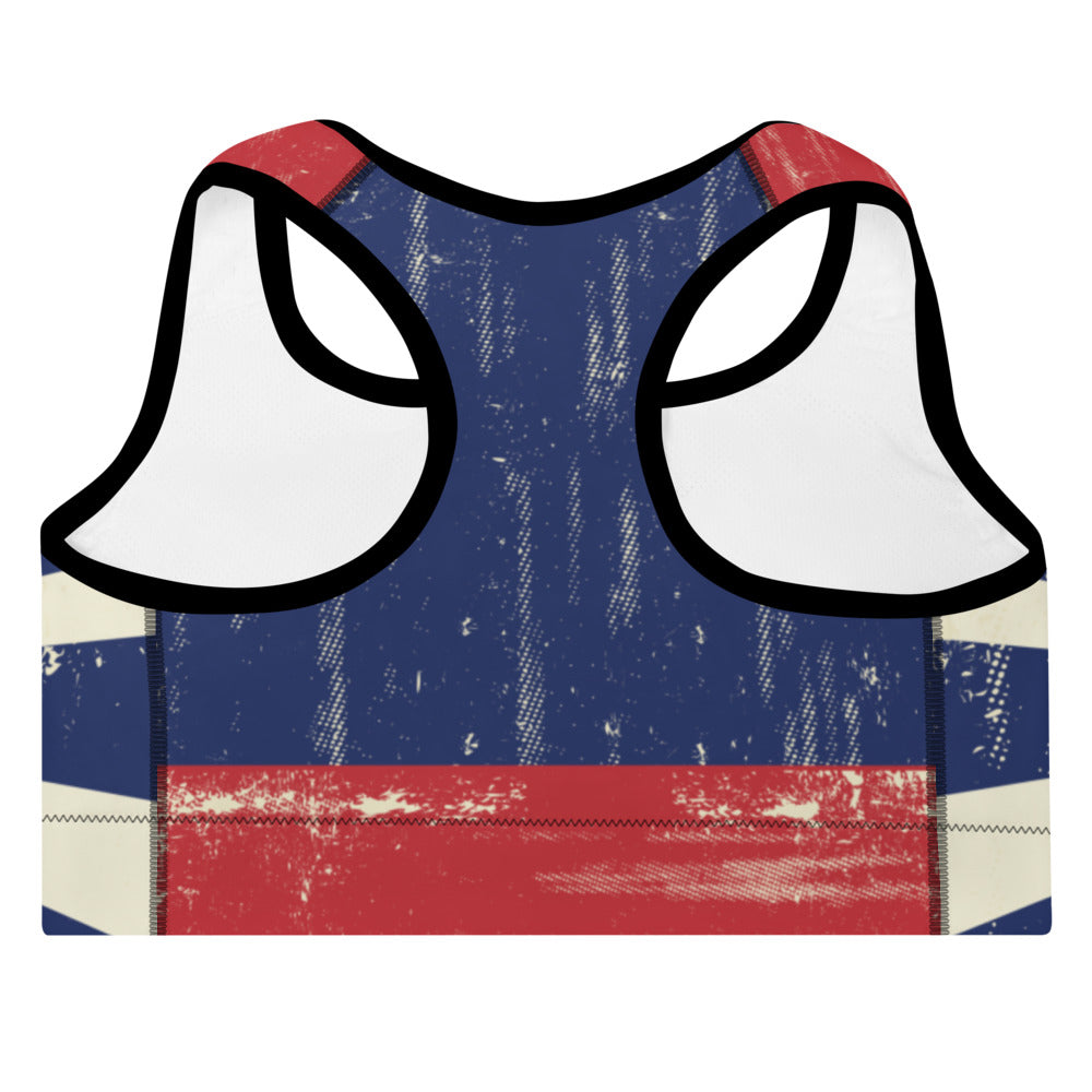 Colorado Flag Grunge - Padded Sports Bra