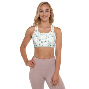 Greens Watercolor Leaves - Padded Sports Bra