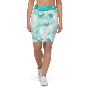 Turquoise Watercolor - Pencil Skirt