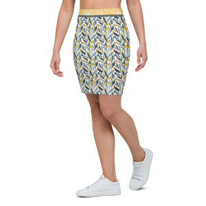 Watercolor Yellow and Grey - Pencil Skirt